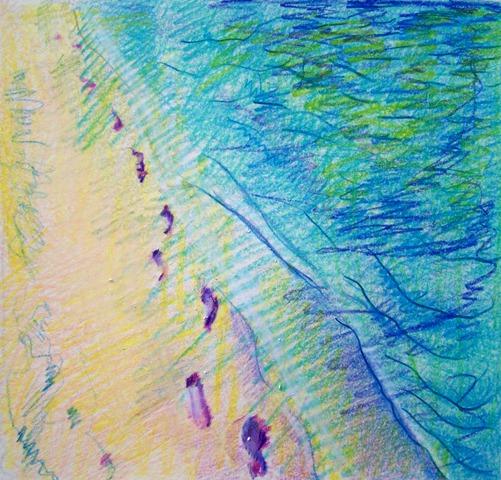 Low tide colored pencils